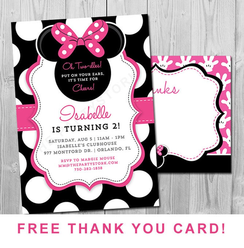 Minnie Mouse 2nd Birthday Invitations Printable Girls Party Invitation Black White Polka Dots And Pink Second Birthday Oh Two Dles