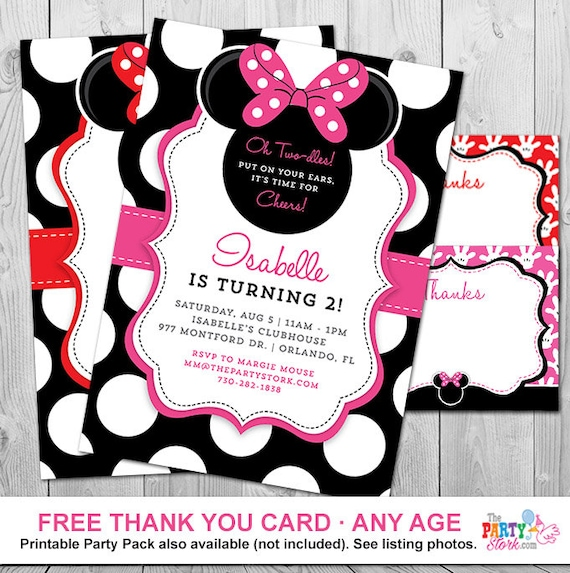 Minnie Mouse 2nd Birthday Invitations Printable Girls Party Etsy