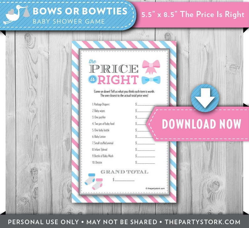 image about Baby Shower Price is Right Printable called Printable Boy or girl Shower Video game, Expense IS Specifically, Gender Explain Topic, Bows or Bowties Gender Impartial, Printable, Quick Down load