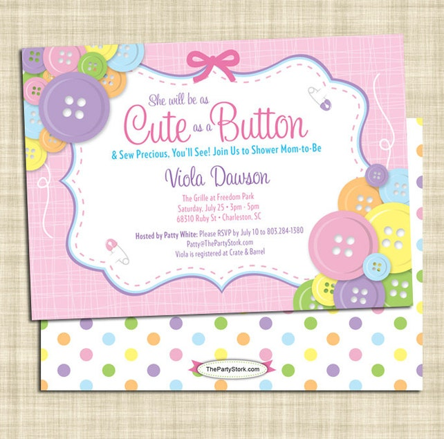 Cute as a button baby shower invitation girl baby shower etsy image 0 filmwisefo