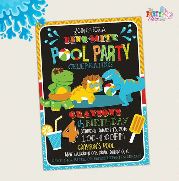 Dinosaur Pool Party Invitation Birthday Dino Printable