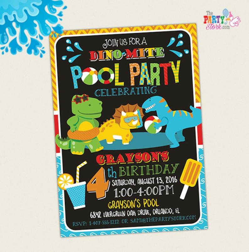 Dinosaur Pool Party Invitation Dinosaur Birthday Party Etsy