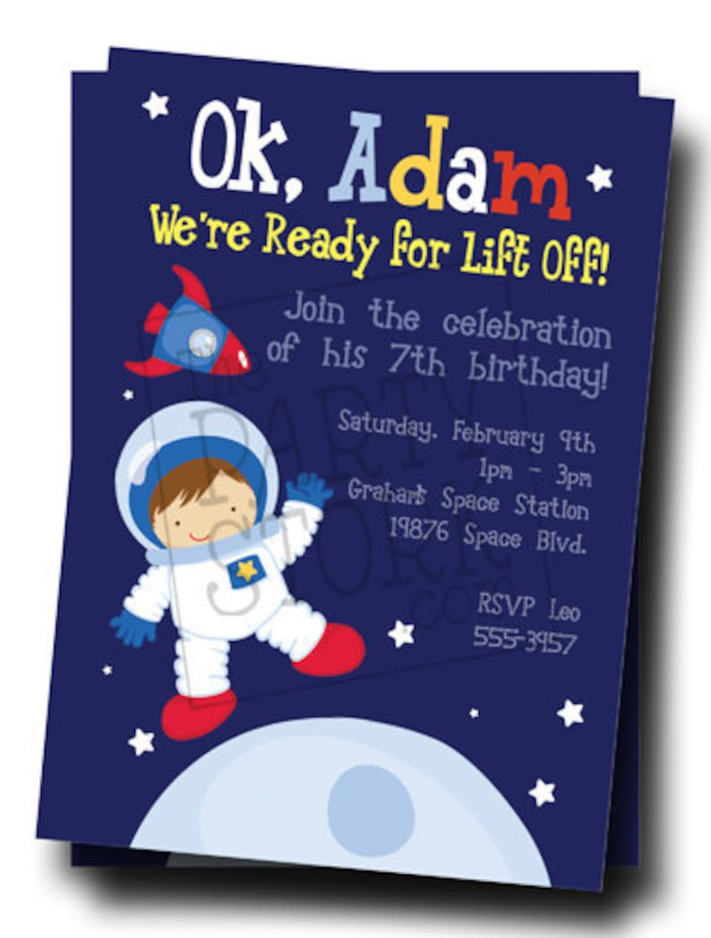 Space Invitation Outer Birthday Party Printable Astronaut Invite