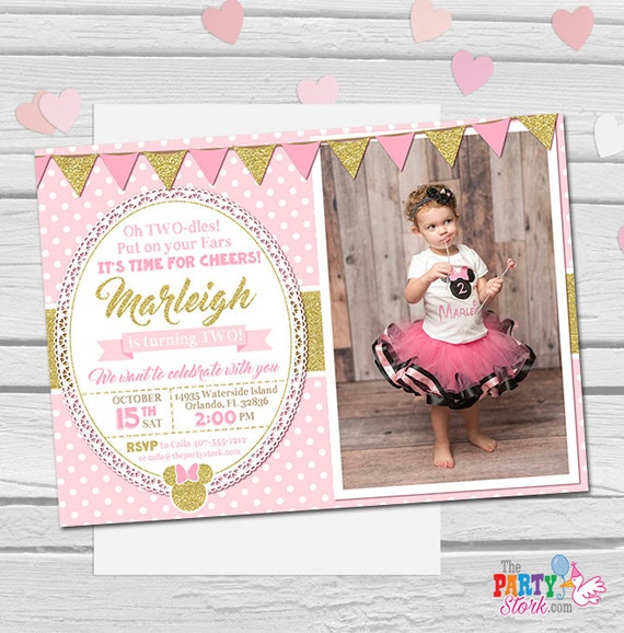 Minnie Mouse Invitation Oh Twodles Pink And Gold