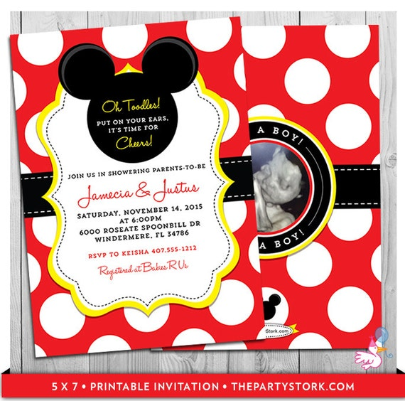 Mickey Mouse Baby Shower Invitations Unique Mickey Mouse Themed