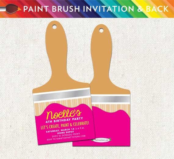 art paint brush party invitation unique printable birthday