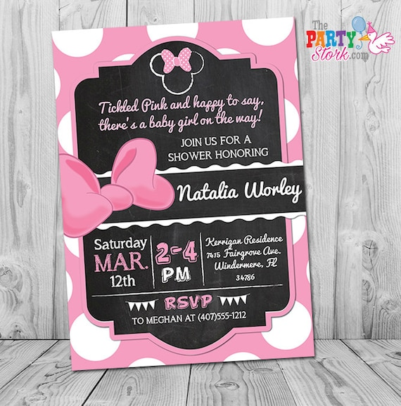 Minnie Mouse Baby Shower Invitation Printable Minnie Mouse Etsy