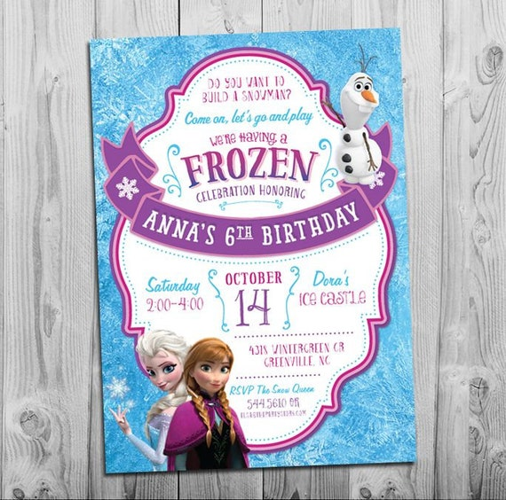 photograph relating to Frozen Invite Printable titled Frozen Birthday Invitation, Frozen Birthday Social gathering Invitation