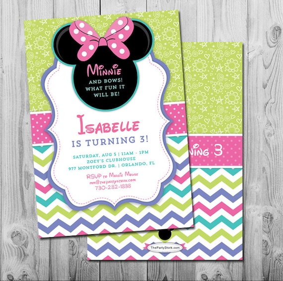 Minnie Mouse Bowtique Invitations Party Invite Birthday Invitation Boutique 3rd