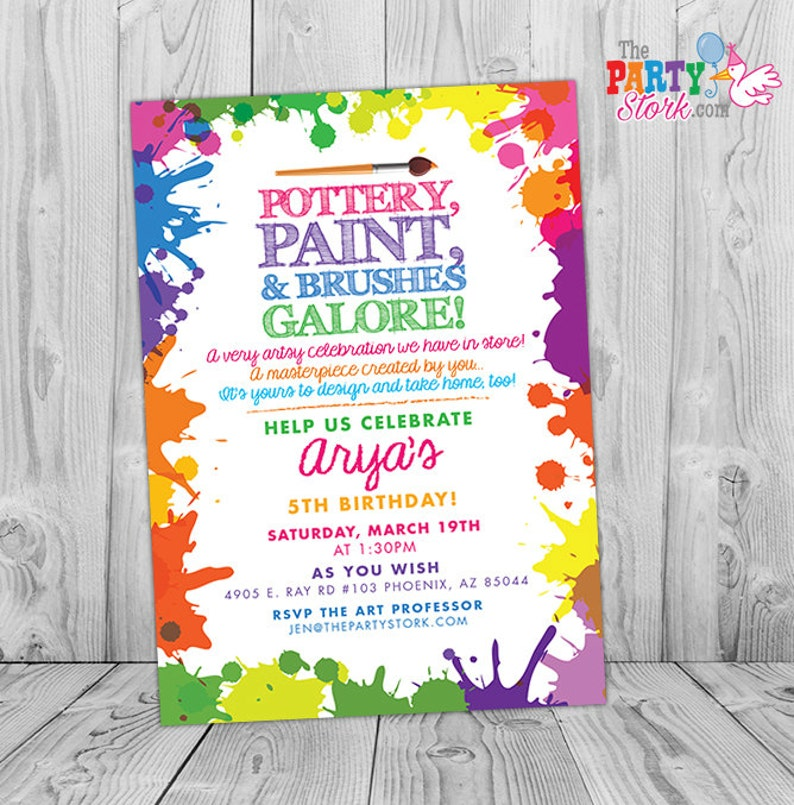 Pottery Party Invitation Pottery Birthday Party Invitation