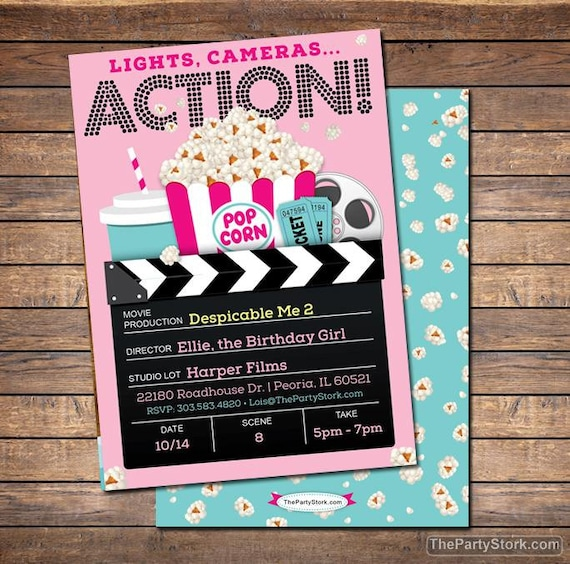 graphic about Printable Movie Ticket Invitation referred to as Online video Invitation, Video Social gathering Invitation, Printable Gals