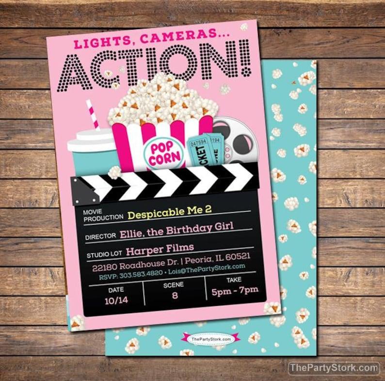 Movie Invitation Party Printable Girls