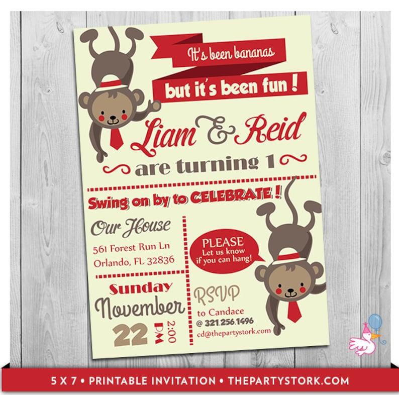 Twin Birthday Invitations Twin Monkey Invite First Birthday Etsy
