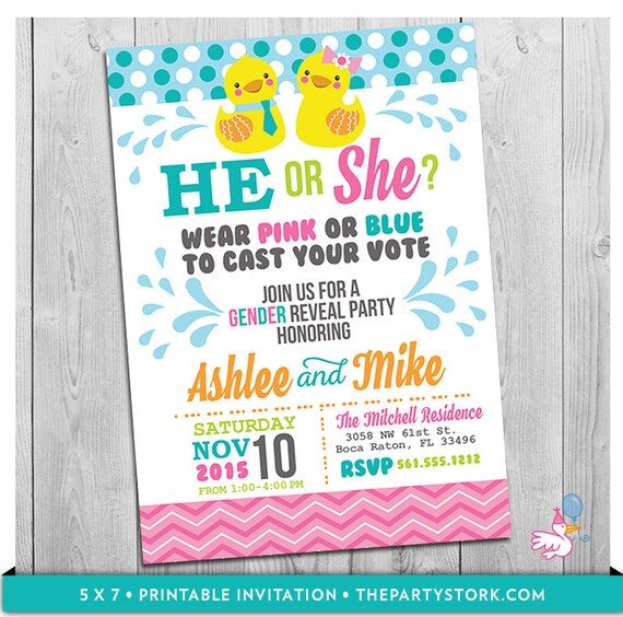 Rubber Duck Gender Reveal Party Invitation Printable He Or She
