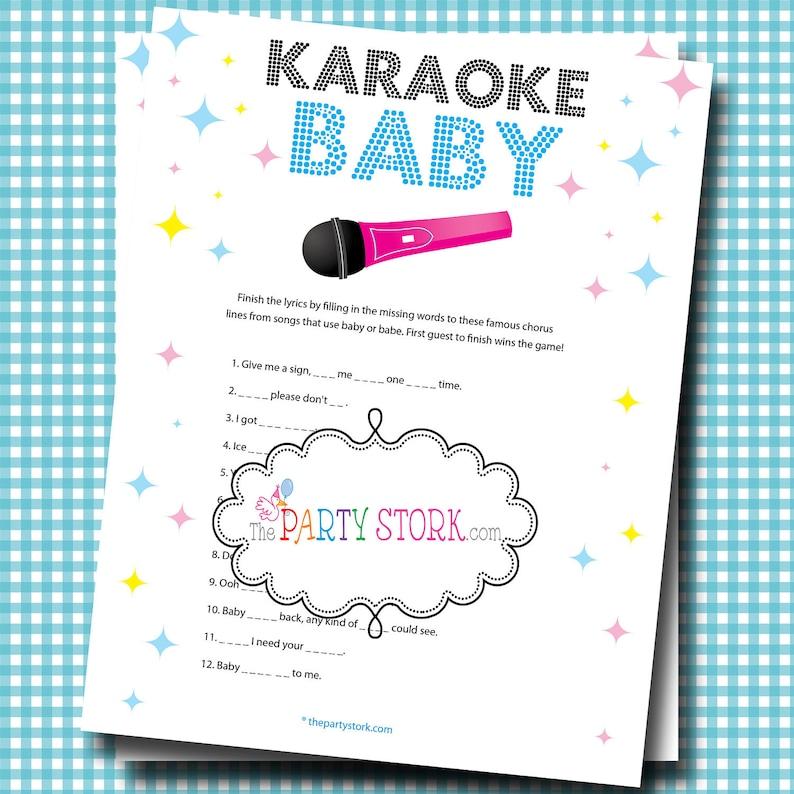 9559c4c23e20b Girl or Boy Baby Shower Games, Fun Karaoke Baby Shower Game, Unique Baby  Song Game, Printable, INSTANT DOWNLOAD Digital