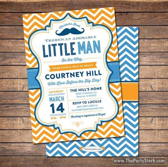 Unique Baby Shower Invitation Little Man Mustache Bash Party Invite