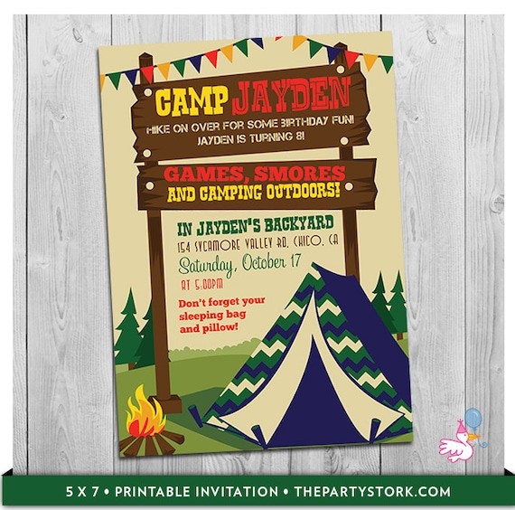 camping invitation camp invite tent invitation camp invitation