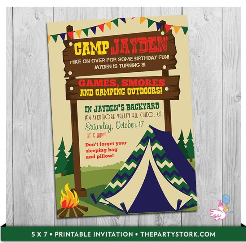 Camping Invitation Camp Invite Tent Invitation Camp Invitation Etsy