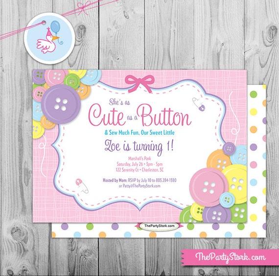 Cute as a Button Birthday Party Invitation | Printable Girl