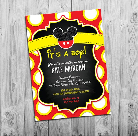 Mickey Mouse Baby Shower Invitations Boy Baby Shower Etsy