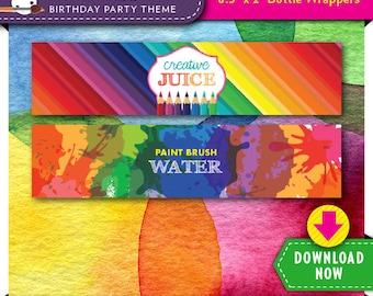 Art Paint Party Water Bottle Labels | Wrappers | Printable Birthday Decor | Rainbow | Instant Download | Check our Shop for More Decorations