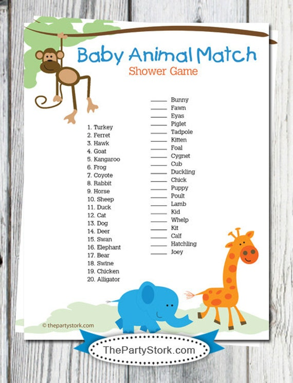 photograph about Baby Printable titled Safari Youngster Shower Video games Printable, Boy or girl Animal Game Sport, Monkey, Giraffe, Jungle Little one Shower Match, Printable Electronic Instantaneous Down load