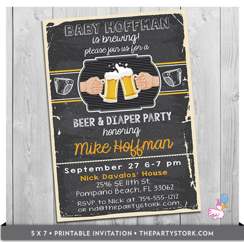 Beer And Diaper Party Invitation Dad Beer Baby Shower Etsy