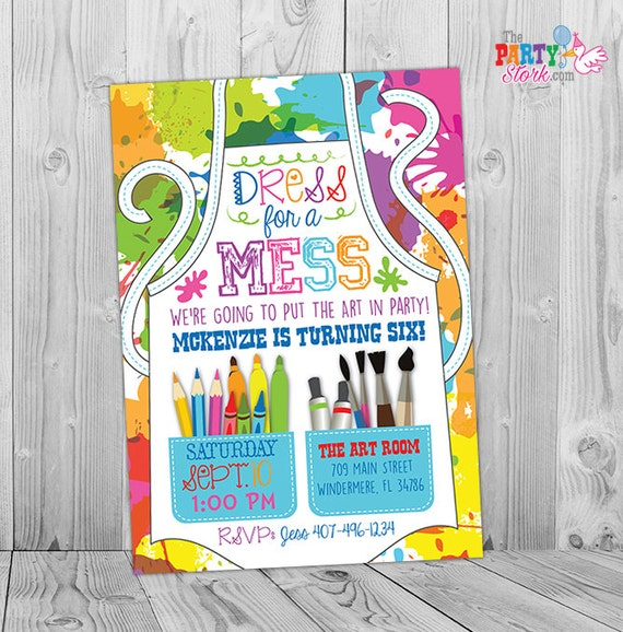 painting party invitation art party invitation art birthday etsy