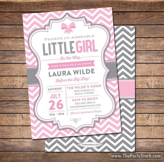 Girl Baby Shower Invitation Printable Baby Shower Invite Pink Grey