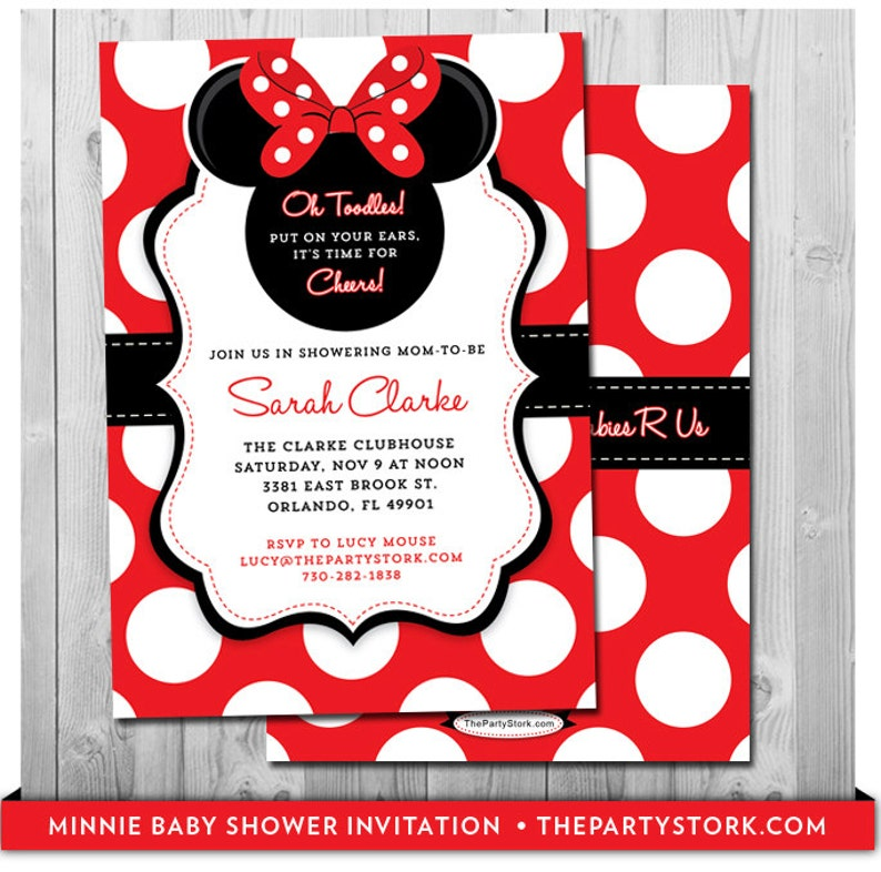 photograph about Free Printable Minnie Mouse Baby Shower Invitations titled Minnie Mouse Boy or girl Shower Invitation Crimson Minnie Kid Shower Invitation Printable Minnie Mouse Boy or girl Shower Invitations Purple and Black Electronic