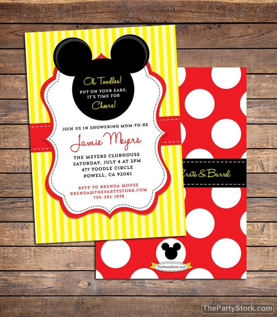 Mickey Mouse Baby Shower Invitation Printable Baby Boy Or Girl