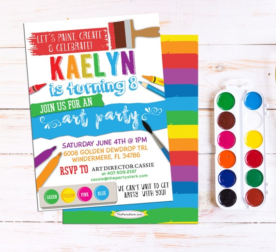 art party invitation art party printable birthday etsy