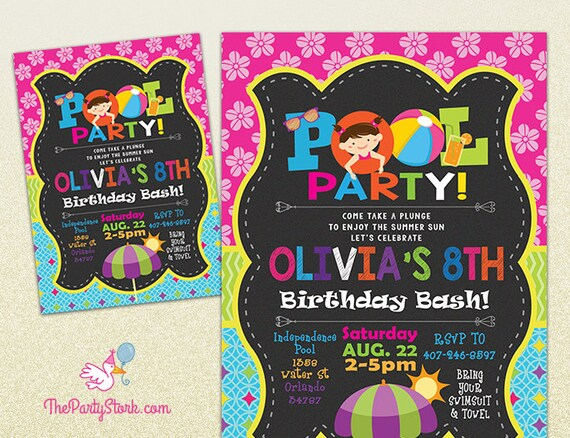 pool party invitation printable birthday invite for girl summer