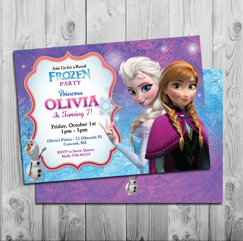 photo relating to Printable Frozen Birthday Card named Frozen Birthday Invitation Printable Frozen Birthday Occasion Invites  Red Blue Purple Customized Anna, Elsa, Olaf Cost-free Again