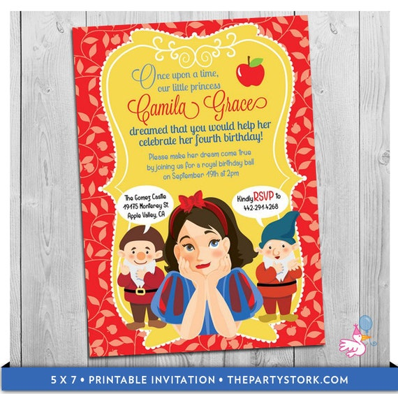 photo regarding Snow White Invitations Printable known as Snow White Invitation: Printable Women Birthday Get together Invites  Custom made Snow White Influenced Invite Electronic Purple Blue Yellow