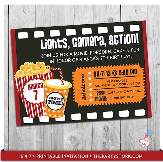 movie party invitation printable boys or girls movie invite
