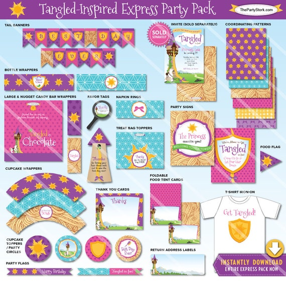 Tangled Birthday Party Decorations Printable Rapunzel Party Package Girls Party Pack Invitation Available Instant Download