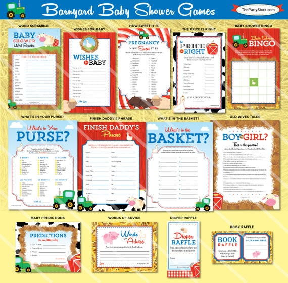 Farm Animals Printable Baby Shower Wishes for Baby Advice Cards