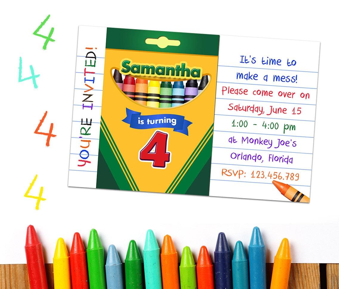 Crayon Party Invitations: Crayon Party Printable Crayon | Etsy