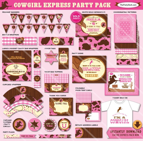 Cowgirl Party Decorations Printable Girl Birthday