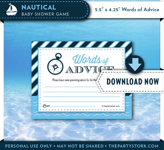 Nautical Baby Shower Game Baby Advice Cards Printable Sailboat