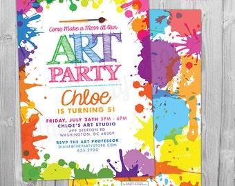 Art Paint Party Invitations, Art Birthday Party Invitations, Printable Art Party Invitation, Art Party Invite, Paint Party Invite Digital
