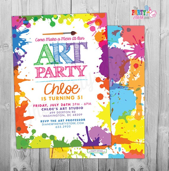 art paint party invitations art birthday party invitations