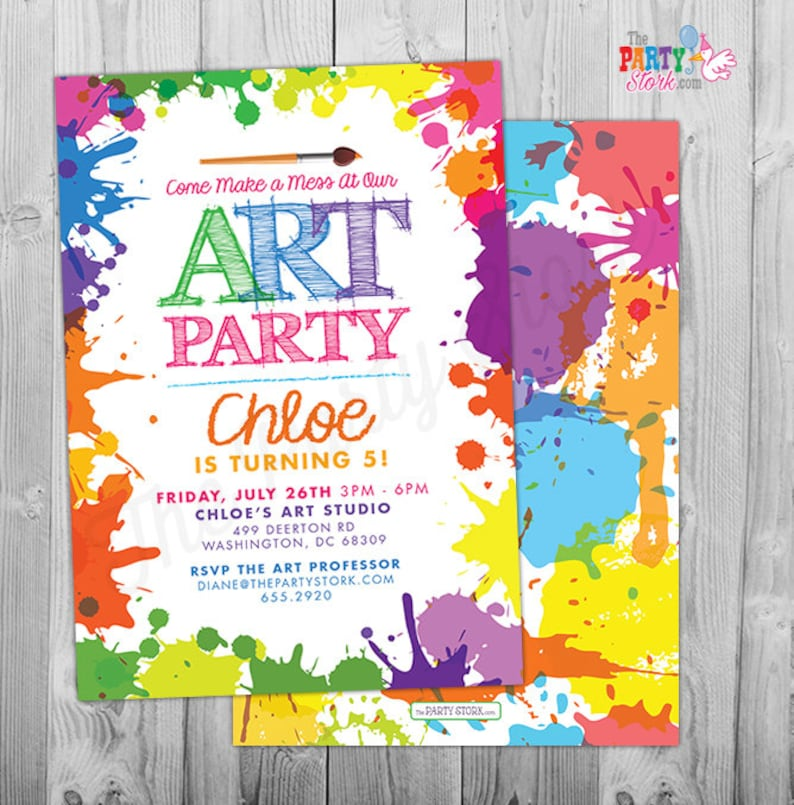 graphic about Printable Party Invite referred to as Artwork Paint Celebration Invites: Printable Birthday Invitation, vibrant small children invite w/ rainbow colours, occasion printables, decorations readily available