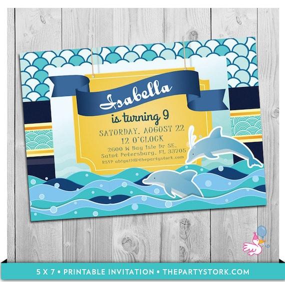 Dolphin Invitations Party Printable Birthday