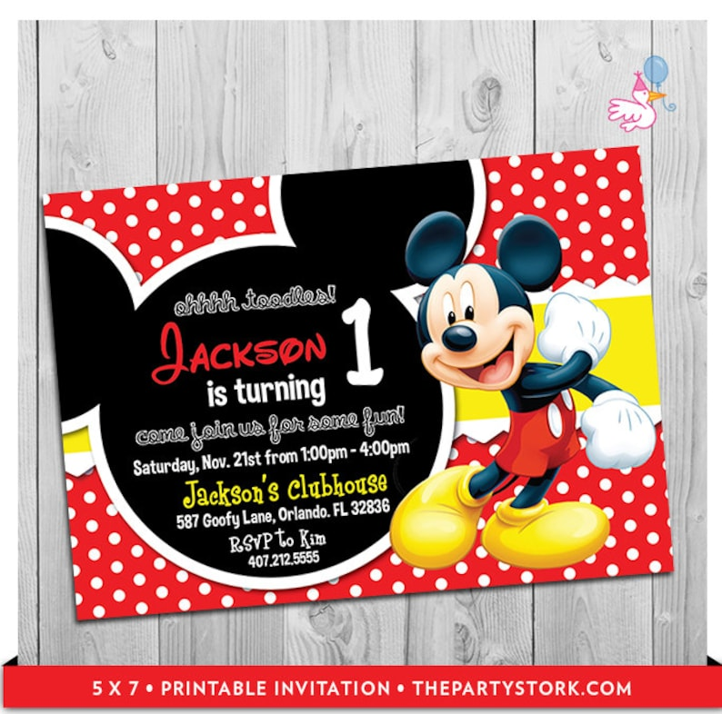 Mickey Mouse Party Invitations Printable Boy 1st Birthday