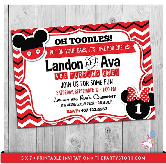 Twin First Birthday Invitation Mickey And Minnie Boy Girl Combined Party 1st 2nd 3rd