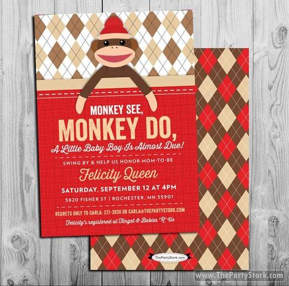 Sock Monkey Baby Shower Invitation, Unique Printable DIY