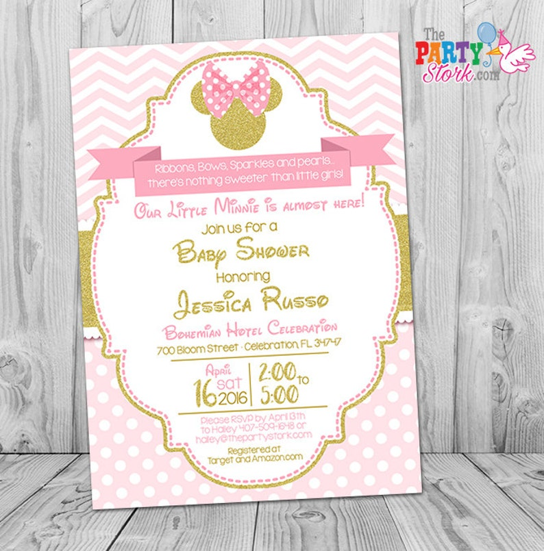 Minnie Mouse Baby Shower Invitations Pink And Gold Minnie Etsy