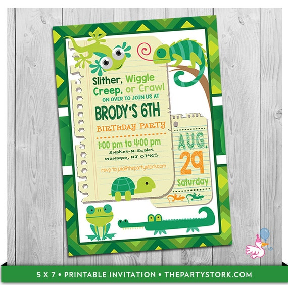 Reptile Invitation Birthday Party Invite Printable